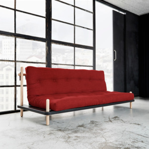 Sofa rozkładana Karup Point, Black/Raw Beech/Passion Red