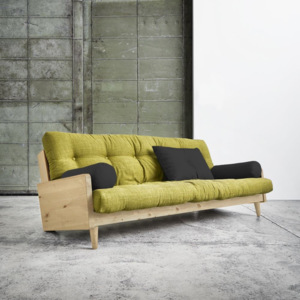 Sofa rozkładana Karup Indie Natural/Avocado Green/Dark Grey