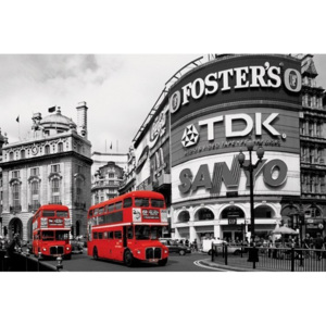 Plakat, Obraz London red bus - piccadilly circus, (91,5 x 61 cm)