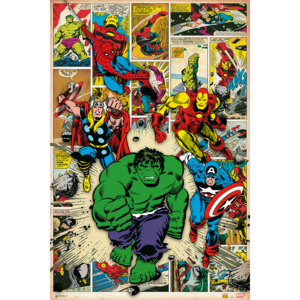 Plakat, Obraz Marvel Comic - Here Come The Heroes, (61 x 91,5 cm)