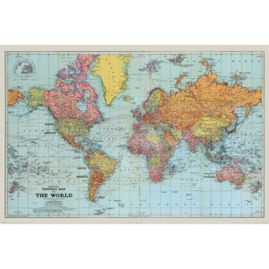 Plakat, Obraz Stanfords General Map Of The World - Colour, (91,5 x 61 cm)