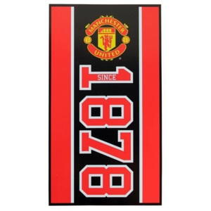 CurePink Ręcznik kąpielowy FC Manchester United Established, 70 x 140 cm