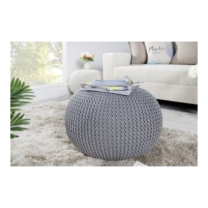 Puf Knitted Ball - szary ∅50cm