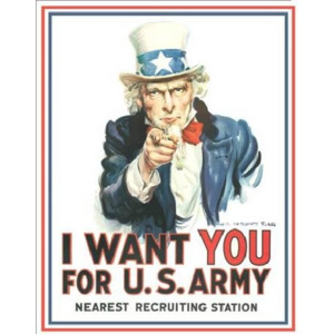 Metalowa tabliczka Uncle Sam - i want you, (32 x 41 cm)