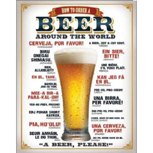 Metalowa tabliczka Beer - How to Order a Beer, (31,5 x 40 cm)