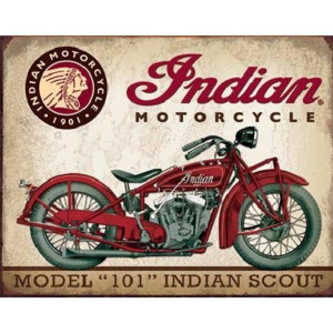 Metalowa tabliczka Indian Motorcycles - Scout Model, (40 x 31,5 cm)