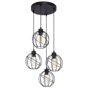 TK Lighting Żyrandol na drutu ORBITA BLACK 4xE27/60W/230V TK1628