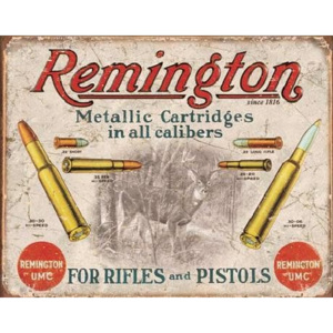 Metalowa tabliczka Rem - Remington - For Rifles Pistols, (40 x 31,5 cm)