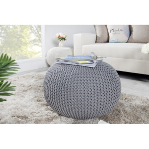 Puf Knitted Ball - szary ∅50cm - szary