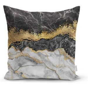 Poszewka na poduszkę Minimalist Cushion Covers BW Marble With Golden Lines, 45x45 cm