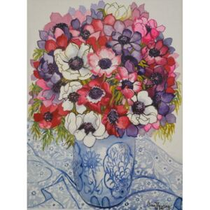 Joan Thewsey - Reprodukcja Anemones in a Blue and White Pot with Blue and White Textile 2000