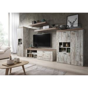 MEBLINE Meble systemowe AMY 1 Canyon white pine / sonoma Trufel