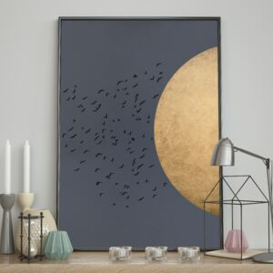 DecoKing - Plakat ścienny - Birds Silhouette - Night 40x50 cm