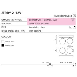 JERRY 2 12V : Kolor - Chrom Spot light QR111/G5.3 LED AZ1751