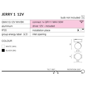 JERRY 1 12V : Kolor - Chrom Spot light Czarny QR111/G5.3 LED AZ1752