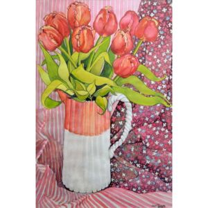 Joan Thewsey - Reprodukcja Tulips in a Pink and White Jug 2005