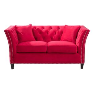 Sofa Chesterfield Modern Velvet Raspberry Red 2-os