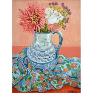 Joan Thewsey - Reprodukcja Dahlias Roses and Michaelmas Daisies 2000