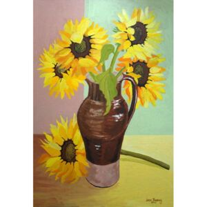 Joan Thewsey - Reprodukcja Five Sunflowers in a Tall Brown Jug 2007