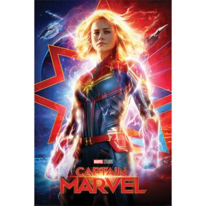 Plakat, Obraz Captain Marvel - Higher Further Faster, (61 x 91,5 cm)