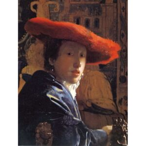Jan (1632-75) Vermeer - Reprodukcja Girl with a Red Hat c 1665