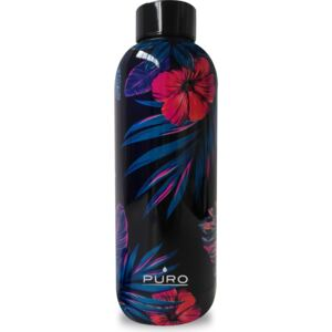 Butelka termiczna Puro Hot&Cold Tropical Flowers Dark Blue