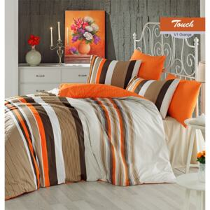 Lenjerie de pat Ranforce Touch V1 Orange-2 pers-200 x 220 cm-2 pers - 220 x 200 cm