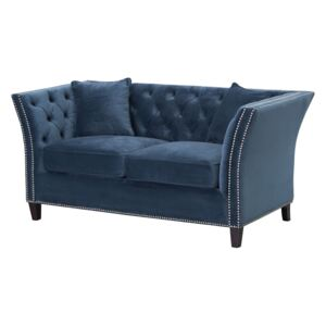 Sofa Chesterfield Modern Velvet Midnight 2-os