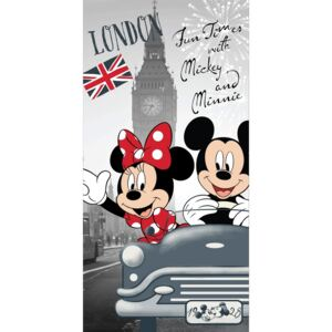 Ręcznik kąpielowy Mickey and Minnie in London, 70 x 140 cm