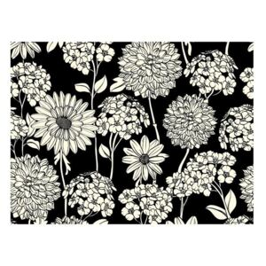 Fototapeta - Black and white floral pattern