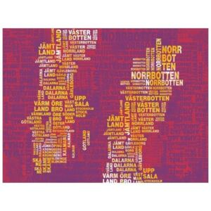Fototapeta - Text map of Sweden on pink background