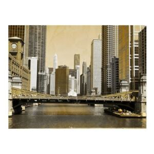 Fototapeta - Most w Chicago (efekt vintage)