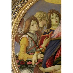Sandro (1444/5-1510) Botticelli - Reprodukcja Virgin and Child with Six Angels called The Madonna of the Pomegranate tempera on panel