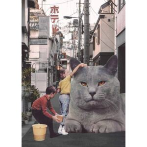 Bodart, Florent - Reprodukcja Children washing a giant Cat in Tokyo Streets