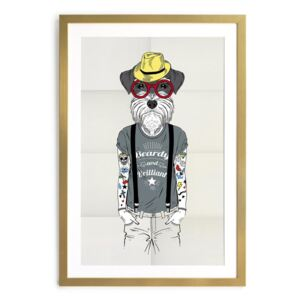 Plakat w ramie Little Nice Things Hipster Dog, 65 x 45 cm