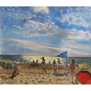 Andrew Macara - Reprodukcja Blue flag and red sun shade Montalivet