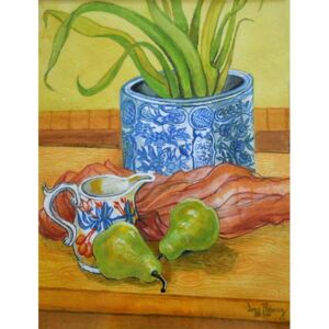 Joan Thewsey - Reprodukcja Blue and White Pot Jug and Pears 2006