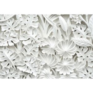 Vintage 3d Carved Flowers White Fototapeta, Tapeta, (254 x 184 cm)