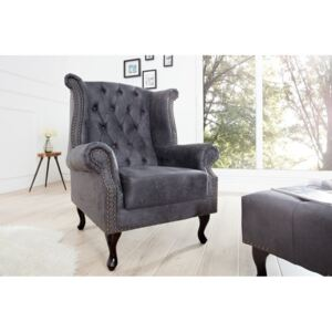 (2622) INGLESE Fotel Chesterfield szary