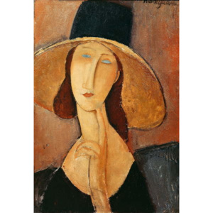 Amedeo Modigliani - Reprodukcja Portrait of Jeanne Hebuterne in a large hat c 1918-19